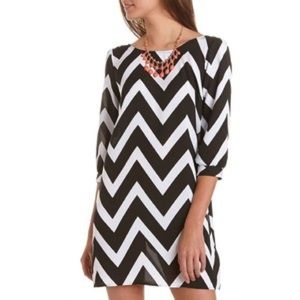 Charlotte Russe Black and White Chevron Dress